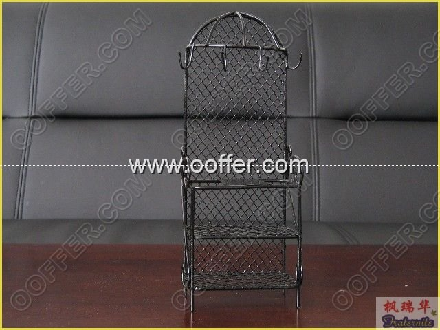 Iron Wire Craft Black Clothes Shelf