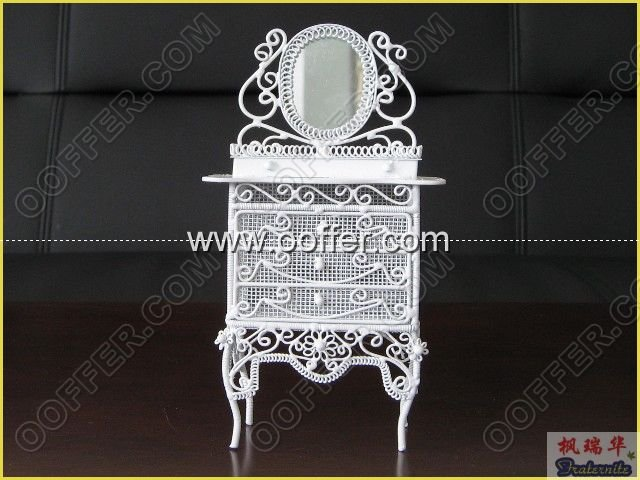Iron Wire Craft White Cabinet