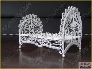 Iron Wire Craft White Bed
