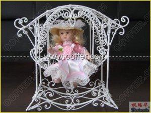 Iron Wire Craft White Rocking Chair