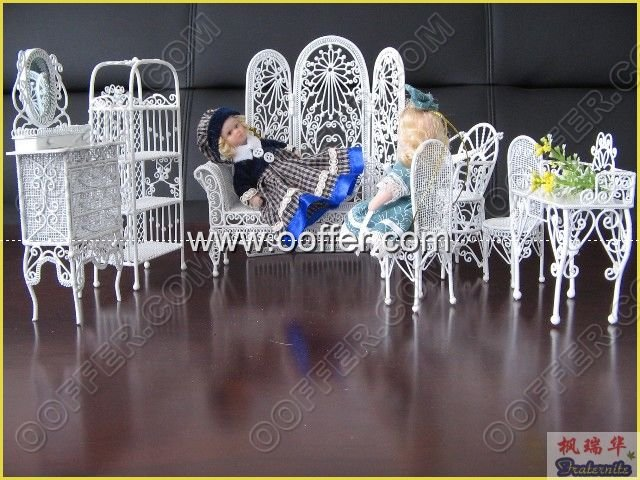 Iron Wire Craft White Living Set