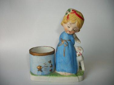 VINTAGE CHRISTMAS LUVKINS CANDLE HOLDER JASCO RD 1978 ANGEL GIRL W/ GOAT FIGURINE