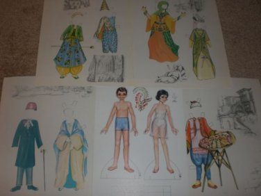 VINTAGE TURKISH BOY & GIRL PAPER DOLLS LOT NEW