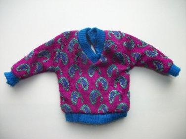GENUINE VINTAGE BARBIE KEN purple  SWEATER CLOTHES W/ TAGS