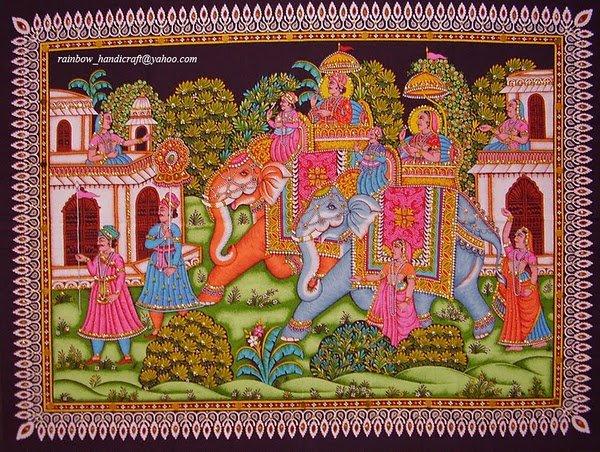 elephants king queen sequin handmade wall Hanging ethnic decor tapestry art India