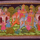elephants king queen sequin handmade wall Hanging ethnic decor tapestry art India