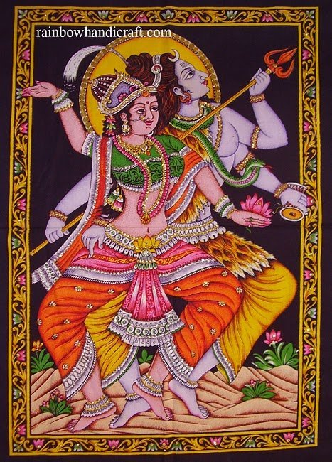 Hindu SHIVA Dance Nataraja sequin cotton WALL HANGING tapestry ethnic art decor