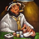 Original BLACK VELVET HAND PAINTING art Gambling POKER - Smoker Mexican MONKEY