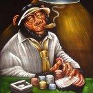 100% black velvet hand painting art gambling poker smoker mexican monkey