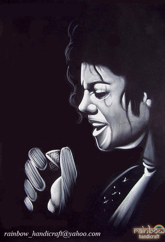 Michael Jackson black velvet painting king of pop original hand art decor
