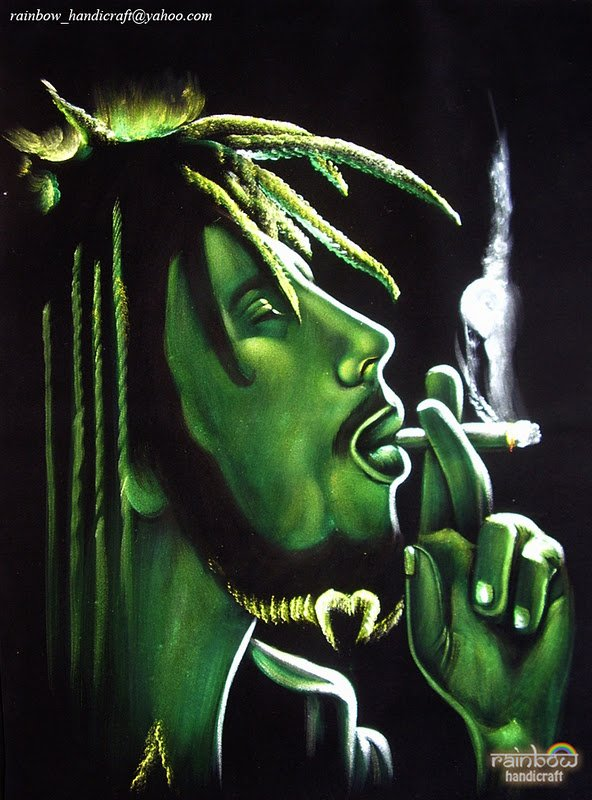 Bob Marley pot Marijuana Joint Original Signed Black Velvet Painting Art reggae