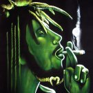 Original BLACK VELVET PAINTING BOB MARLEY Smoking weed