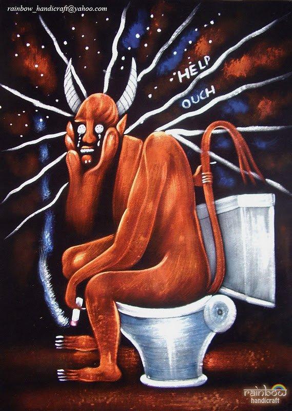 Original Satan on Toilet BLACK VELVET PAINTING Devil on Can super Bizarre art
