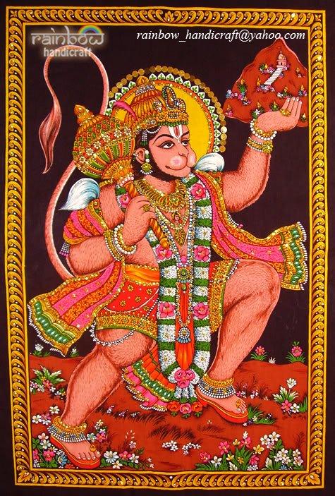 hindu monkey god hanuman sequin cotton wall hanging batik tapestry art decor