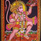 Hindu deity hanuman monkey god batik sequin cotton wall hanging tapestry India