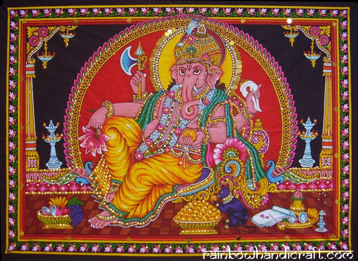 hindu elephant god ganesh ganesha sequin wall hanging tapestry indian ethnic art