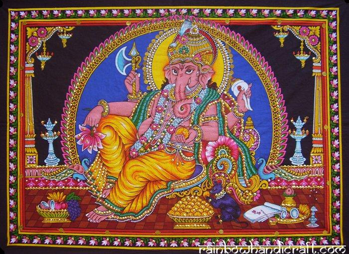 hindu elephant god batik Ganesh ganesha sequin coton wall hanging tapestry India