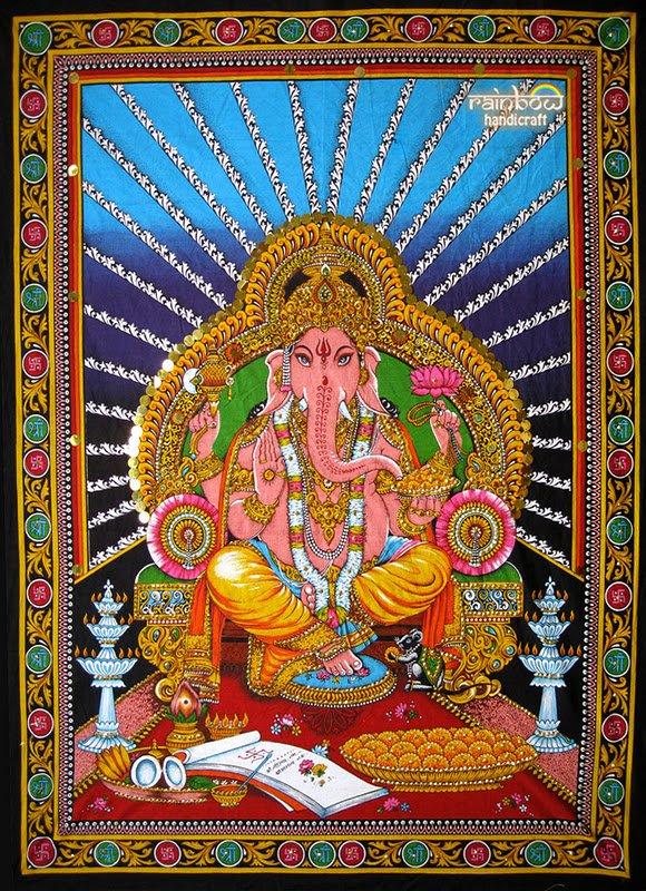 hindu elephant god deity ganesh ganesha sequin wall hanging ethnic decor art tapestry India
