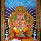hindu elephant god deity ganesh ganesha sequin wall hanging ethnic decor art tapestry India
