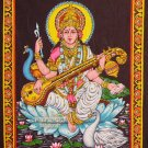 hindu goddess deity saraswati sequin wall hanging tapestry India ethnic decor art