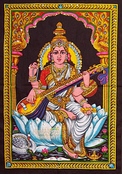 Hindu Goddess deity SARASWATI sequin WALL HANGING tapestry India