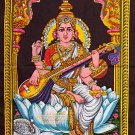 Hindu Goddess deity SARASWATI sequin WALL HANGING tapestry India