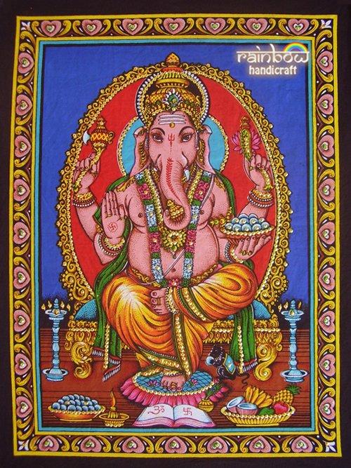 hindu elephant god ganesh ganesha sequin wall hanging ethnic batik decor tapestry India