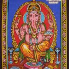 hindu elephant god ganesh ganesha sequin coton batik wall hanging ethnic tapestry India