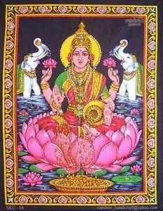 hindu money goddess laxmi lakshmi sequin wall hanging ethnic decor tapestry india art