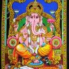 Hindu god batik elephant deity ganesh ganesha sequin wall hanging tapestry