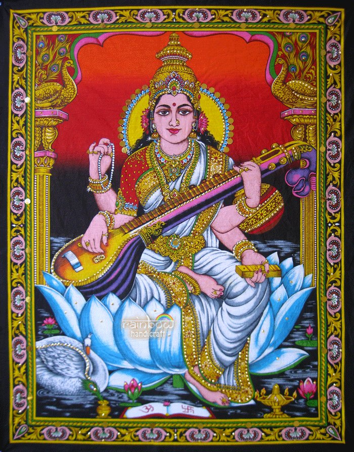 hindu goddess deity saraswati sequin wall hanging cotton tapestry Indian ethnic decor art