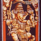 hindu cotton batik painting standing Ganesh GANESHA WALL HANGING tapestry India art