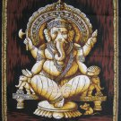 hindu cotton batik painting seating Ganesh ganesha wall hanging tapestry India art