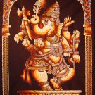 hindu cotton batik painting dancing Ganesh GANESHA WALL HANGING tapestry India art