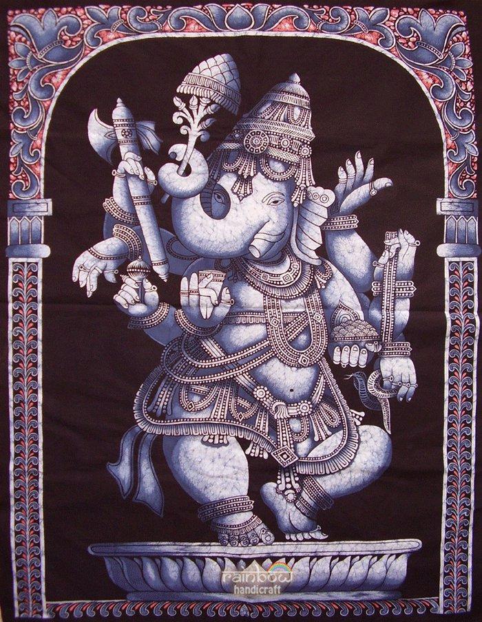 batik ganesha ganesh wall hanging hindu elephant God tapestry vintage cotton indian ethnic art decor