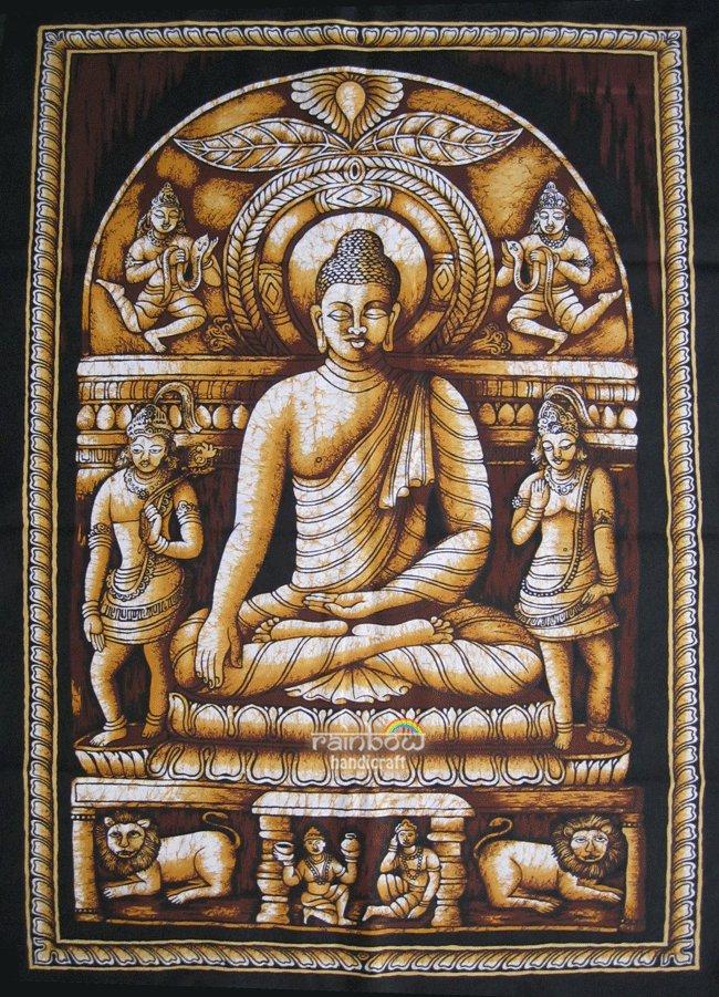 buddhist cotton fabric batik Buddha wall hanging tapestry Yoga decor india art