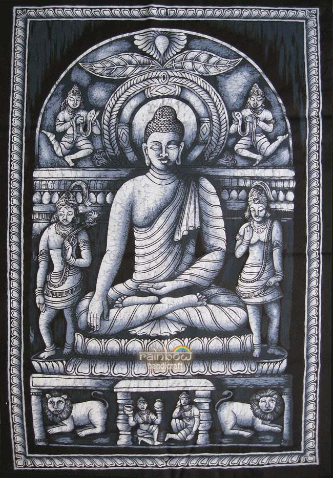 batik buddha wall hanging buddhist  tapestry ethnic home decor zen yoga art