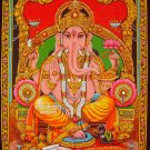 hindu elephant god ganesh ganesha sequin cotton wall hanging ethnic tapestry art India decor