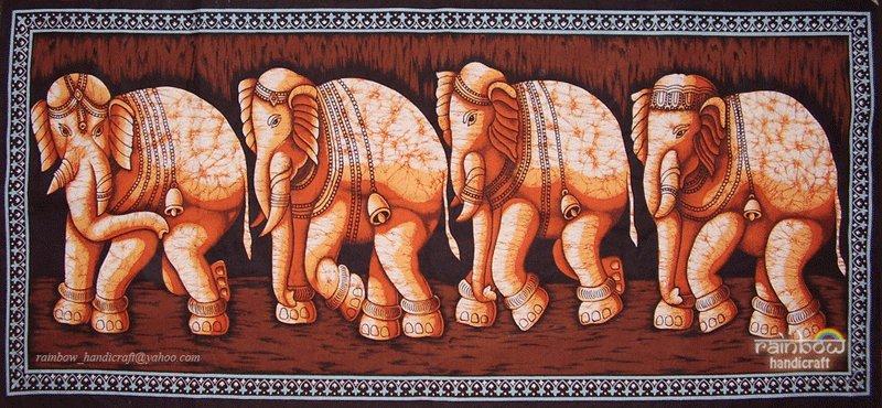 batik Indian elephant wall hanging tapestry ethnic handmade home decor art