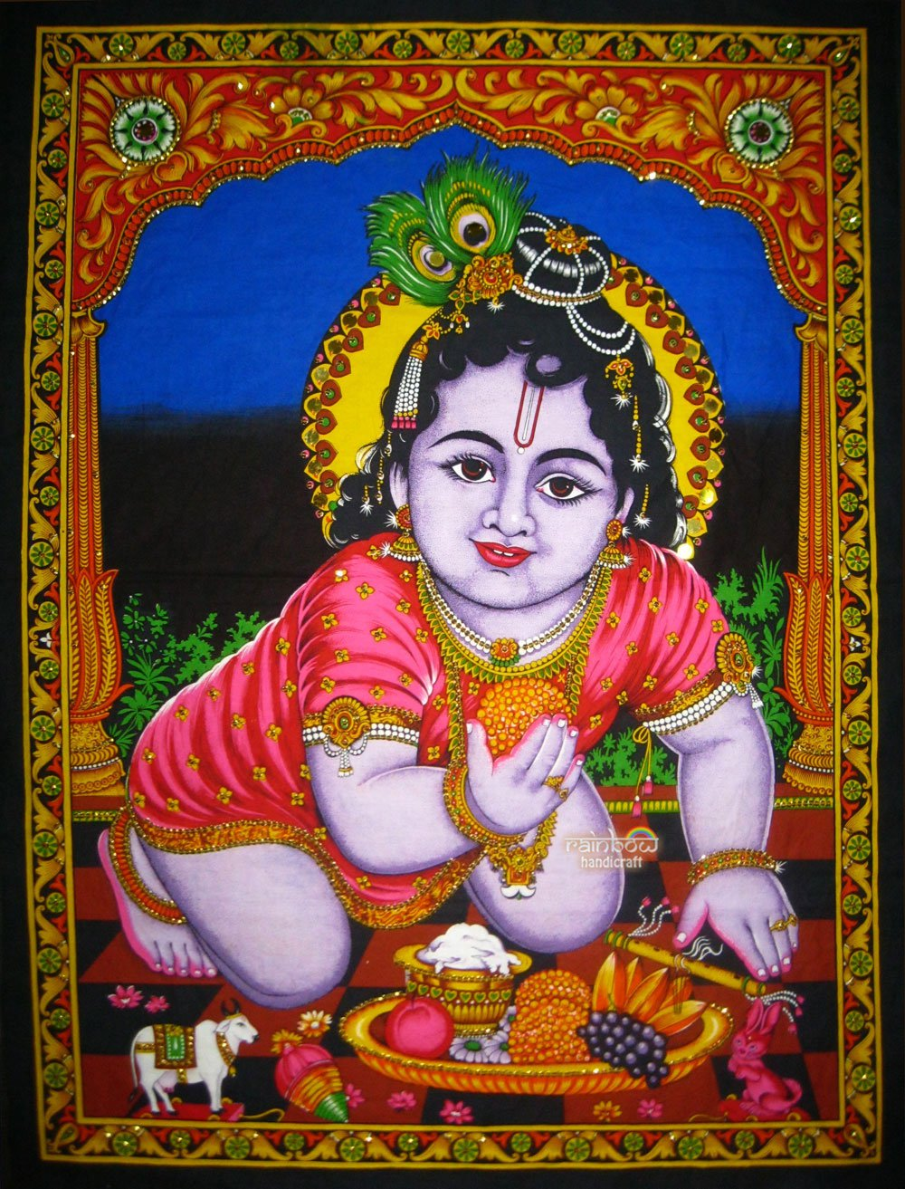 hindu baby krishna sequin wall hanging batik tapestry ethnic decor vintage art