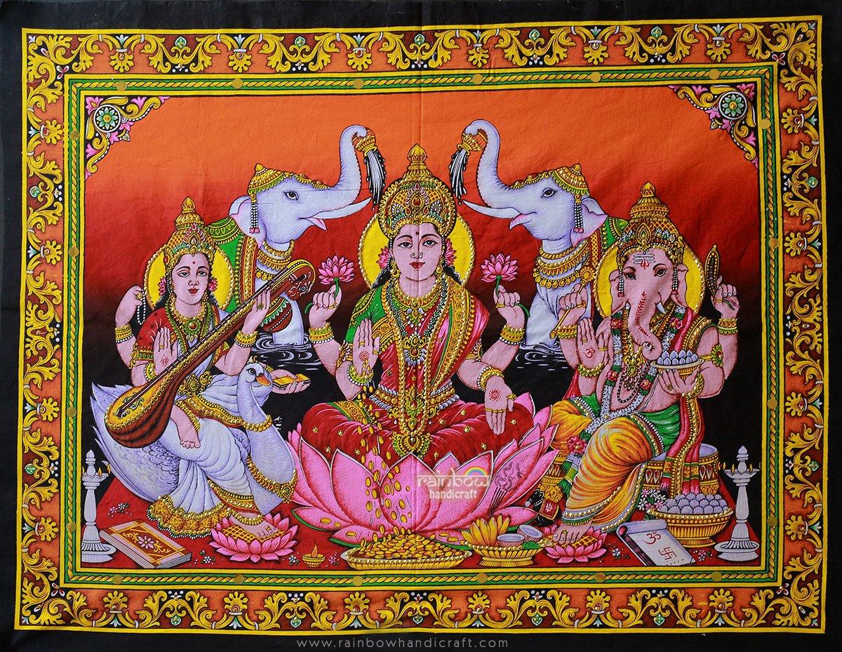Ganesha Saraswati Laxmi trivium sequin wall hanging tapestry Indian ethnic decor art