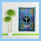 "Peace Sign Symbol Tie Dye Tapestry Bohemian hippie Wall Hanging twin dorm bedspread 55"" x 85"""