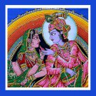 hindu krishna radha love in garden sequin cotton wall hanging tapestry home decor art India