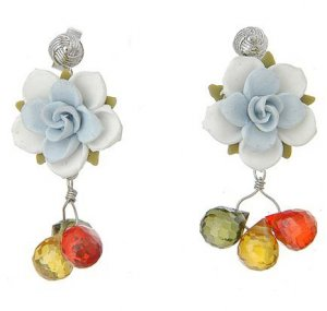 white jade & colourful crystal flower earring