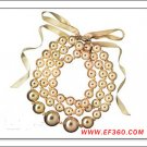 pearl  ring style necklace with cute bows