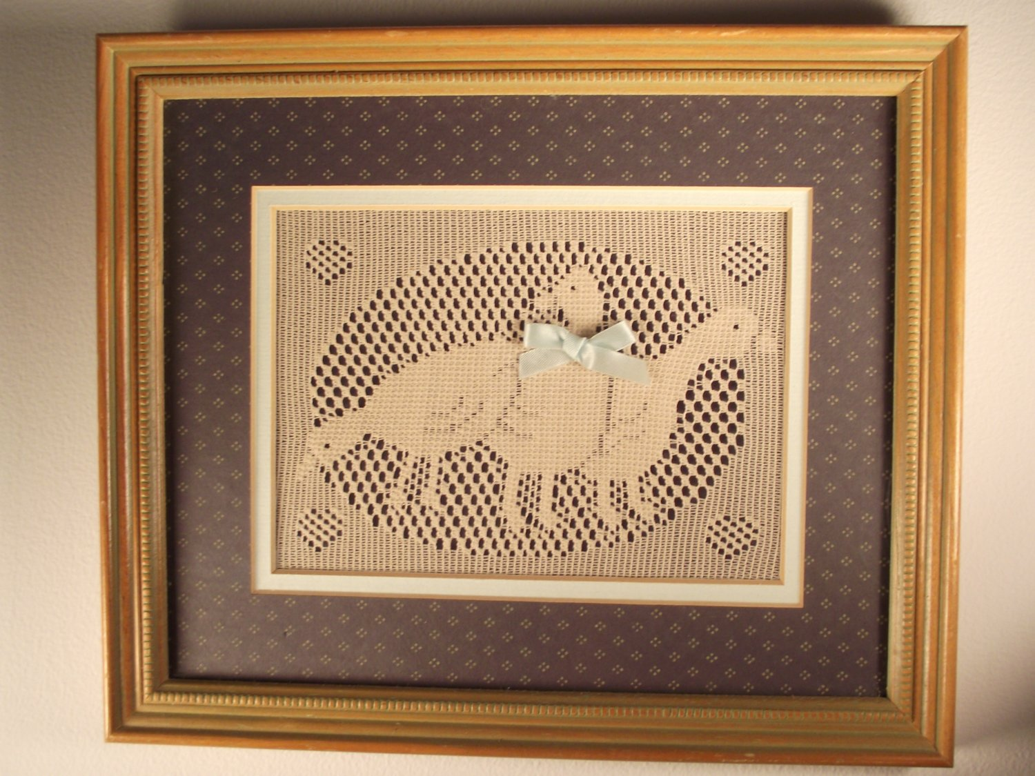 Framed Matted Wall Decor Country Geese Blue