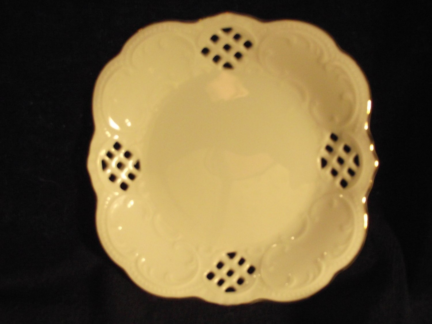 3 Collector's Plates Small Fine China Pierced Embossed Scalloped Gilded Gold Edge