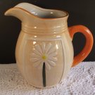 Daisy Milk Orange Juice Pitcher Hand Painted Cheerful Breakfast Kitchen Home Decor