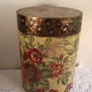 Decorative Box Tall Oval Covered Antiqued Floral Hand-Painted Animal Print Tuscan Storage Home Decor