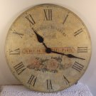 Wall Clock French Shabby Chic Style Floral Distressed Finish Battery Operated 11.5 inches
